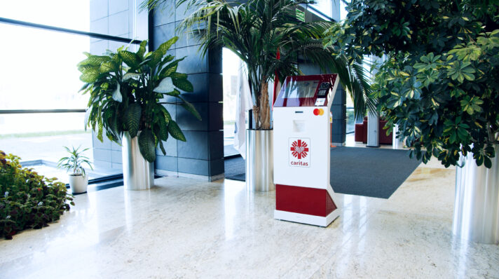 DONATION KIOSKS  designed and manufactured by MAGO for Mastercard and Caritas
